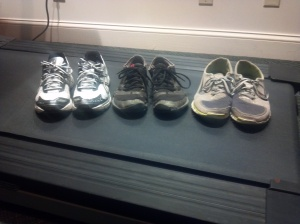 L-R: Asics Motion control shoes, NB Minimus, and Nike Free v3.0